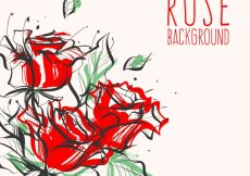 Free vector Pretty background with hand-drawn roses #190