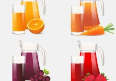 Free vector Realistic selection of jars and glasses with fruit juices #3077