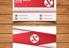 Free vector Red minimal business card template #1608