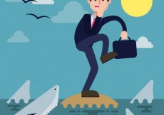 Free vector Scene of businessman in danger with sharks #666