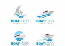 Free vector Selection of boat logos in minimalist design #150