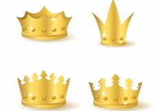 Free vector Selection of four realistic gold crowns #1298