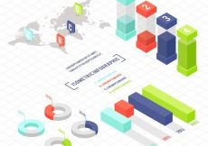 Free vector Selection of infographics elements in isometric design #2297