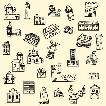Free vector Set of doodle houses #3516