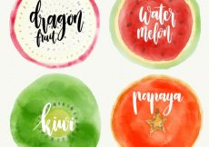 Free vector Set of four fruits painted with watercolor #1410