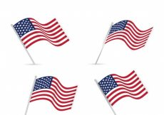 Free vector Set of four realistic united states flags #1749
