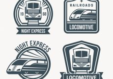 Free vector Set of four train logos #1999