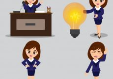 Free vector  Set of four Young Business Women characters in different pose #1743