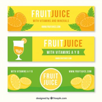 Free vector Set of green and orange fruit juice banners #3402