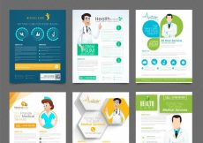 Free vector  Set of six creative flyers or template design for Health and Medical concept #706