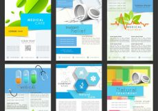 Free vector  Set of six different template, banner or flyer design for Health and Medical concept #716