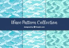 Free vector Set of three patterns with hand-drawn waves #98