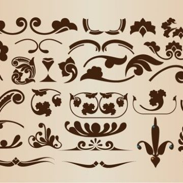 Free vector Set of Vector Floral Decorative Elements for Design #3457