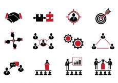 Free vector Set Of Working Together Icons #1623