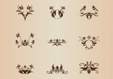 Free vector Symmetrical Floral Element Vector Collection #3460