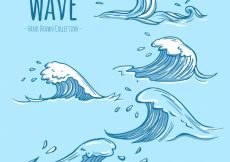 Free vector Variety of hand-drawn waves with great designs #95