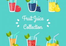 Free vector Various delicious fruit juices in flat design #3453