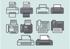 Free vector Vector Fax Icons Set #3148