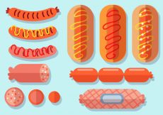 Free vector Flat Bratwurst Icon Set #3353