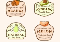 Free vector Vintage collection of fruit labels #270