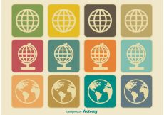 Free vector Vintage Earth / Globe Icons #1786
