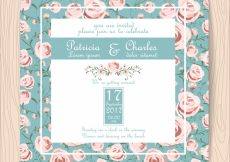 Free vector Wedding invitation with roses background #3332