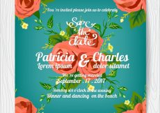 Free vector Wedding invitation with roses design and blue backgroun #3272