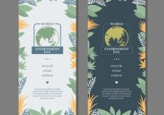 Free vector World environment day banners with decorative vegetation #1628