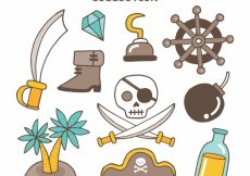Free vector Assortment of hand drawn pirate items #9022