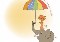 Free vector Baby shower card with funny elephant and little cat under umbrella #6828
