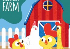 Free vector Background of red barn with hand drawn nice hens  #6122