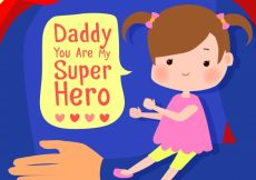 Free vector Background of super dad with his little daughter #7132