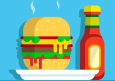 Free vector Background of tasty burger with ketchup bottle #5909