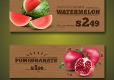 Free vector Banners with fruits in realistic style #9066