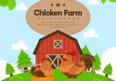 Free vector Beautiful farm background with hen and rooster #9791