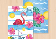 Free vector Beautiful summer watercolor cards with flamenco and flowers #10140