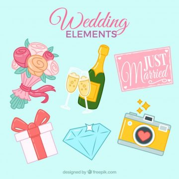 Free vector Beautiful wedding elements collection #11831