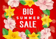 Free vector Big summer sale floral background design #7345