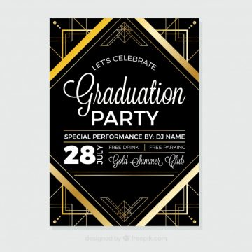 Free vector Black and gold graduation party brochure with geometric forms #12385