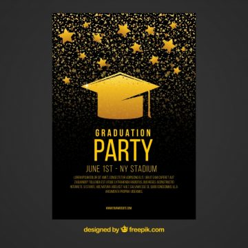 Free vector Black and gold party flyer with graduation cap and stars #12321