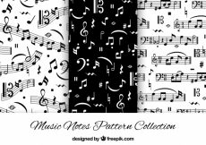 Free vector Black and white patterns with musical notes #12261