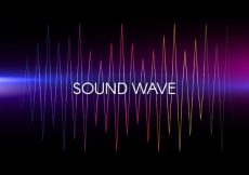 Free vector Black background with colored sound wave #7753