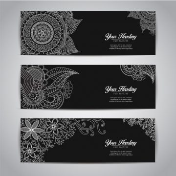 Free vector Black banner template collection #8854