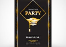 Free vector Black party flyer with graduation cap #12323