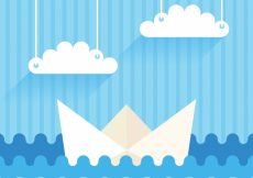 Free vector Blue background with paper boat and clouds #6539
