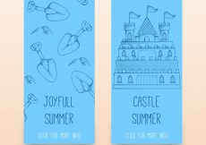 Free vector Blue banners with sandy castle and shovels #4820