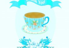 Free vector Blue greeting card with cup #10225