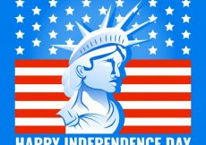 Free vector Blue independence day background with statue of liberty #10517