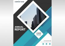 Free vector Blue rectangular corporate annual report template #8836