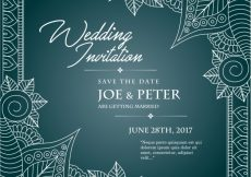 Free vector Blue wedding invitation template #8856